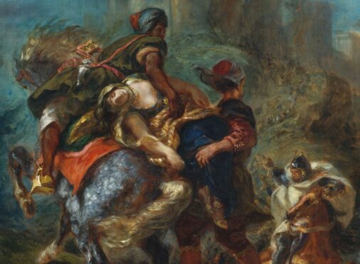 The Abduction of Rebecca, by Eugene Delacroix from 1846. The French painting is a scene from Sir Walter Scott's novel Ivanhoe