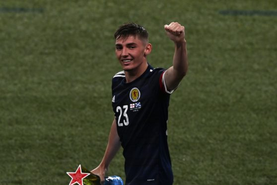 Billy Gilmour waves to the fans after being named man of the match against England