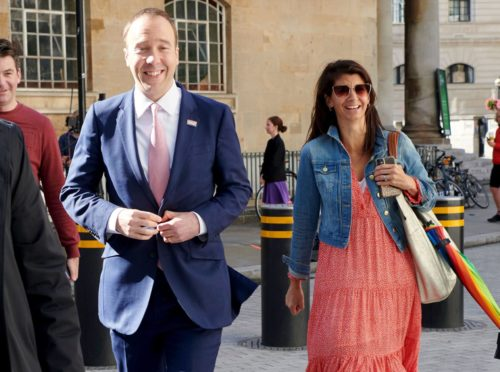 Health Secretary Matt Hancock is seen outside the BBC building with his closest aide Gina Coladangelo.