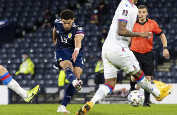 Che Adams scores to make it 3-0 Scotland during a World Cup qualifier between Scotland and the Faroe Islands at Hampden Park in March