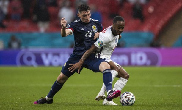 Scotland's Billy Gilmour and Raheem Sterling in action during the Euro 2020 match between England and Scotland at Wembley