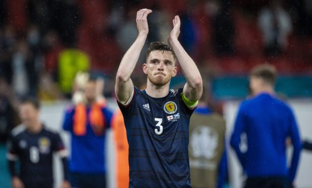 Scotland captain Andy Robertson at full time during a Euro 2020 match between England and Scotland at Wembley Stadium, on June 18, 2021.