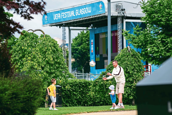 The Fanzone for the Euro 2020s being set up in Glasgow Green, ahead of the tournament starting next week.