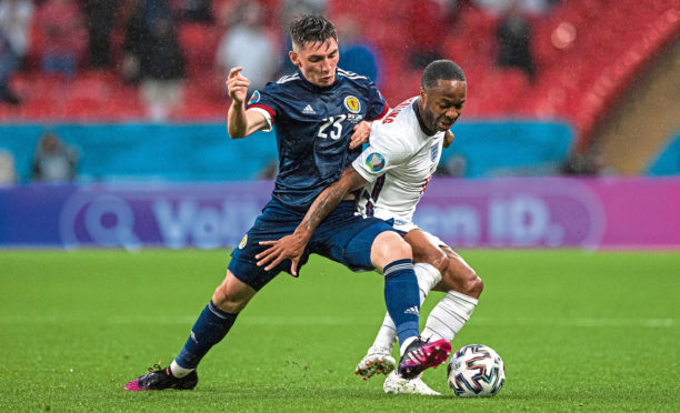 Billy Gilmour lets England's Raheem Sterling know he's in a game during the goalless draw at Wembley on Friday night
