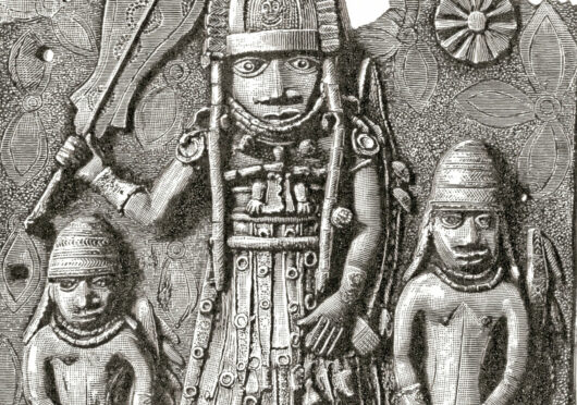 One of the Benin Bronze plaques which originally decorated the royal palace of the Benin Kingdom in modern-day Nigeria.