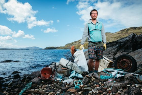 Ben Taylor has been stopping regularly to clean beaches, such as on Loch Melfort near Oban