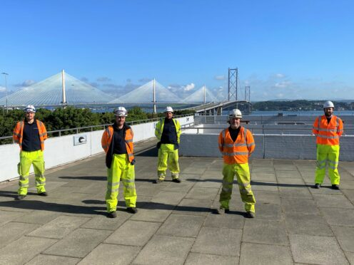 Workers on the Forth Road Bridge project