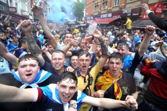 Scotland fans gather in Leicester Square