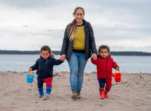 Seona Galbally enjoys a trip to Broughty Ferry beach with two-year-old twins Zen and Ziggy