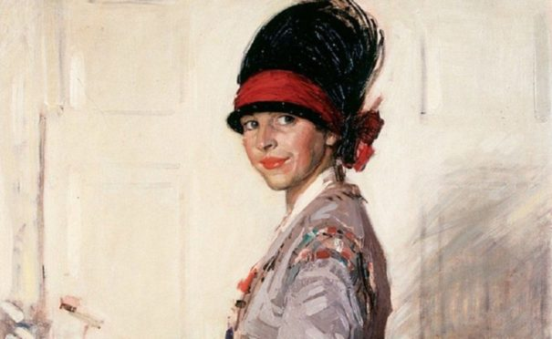 Self-portrait of Eleanor Allen Moore, which was selected as the poster for Glasgow School of Art's 2010 Glasgow Girls exhibition