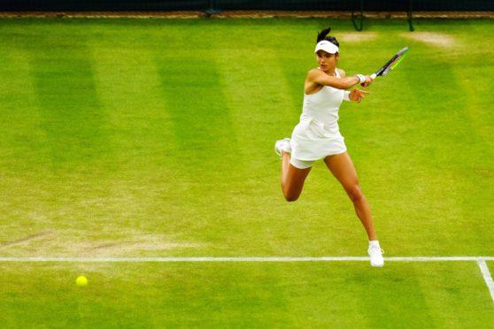 Emma Raducanu during her fourth round match at Wimbledon.