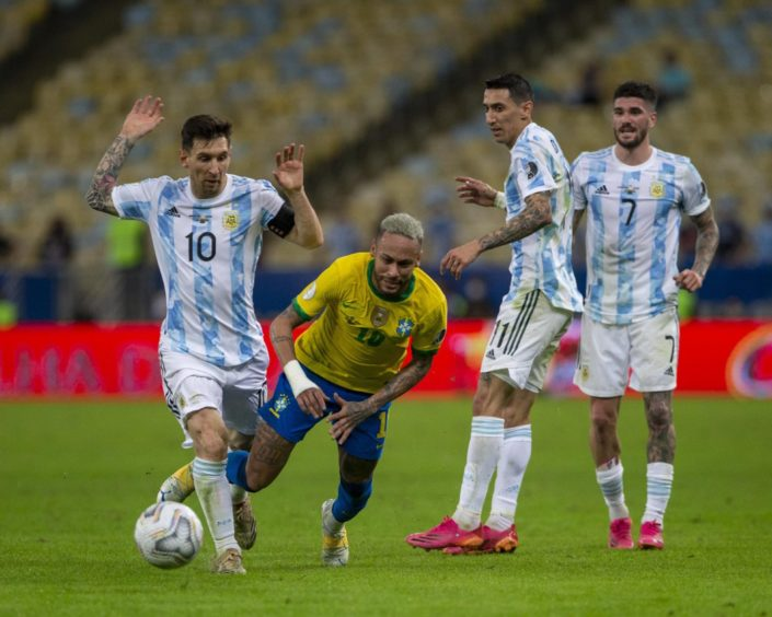 Lionel Messi and Neymar in action in the Copa America