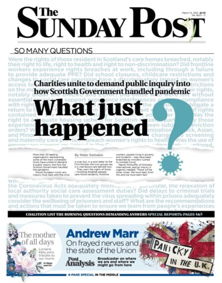The Sunday Post front page with inquiry calls in April