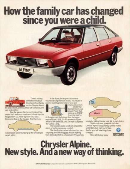 Chrysler Alpine launches in 1976, the same year as CalMac's oldest ferry, the Isle of Cumbrae