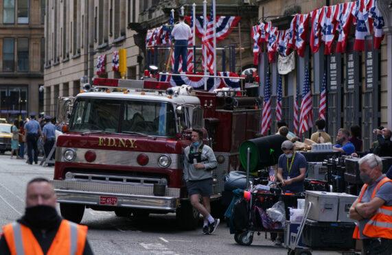 Crew set up on Cochrane Street, Glasgow