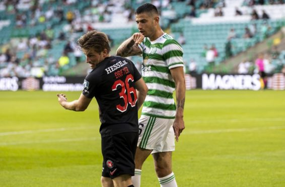 The moment of madness that saw Celtic's Nir Bitton sent off after this clash with Midtjylland playmaker, Anders Dreyer