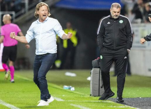 Ange Postecoglou has much to consider as Midtjylland boss, Bo Henriksen, enjoys his side's win.