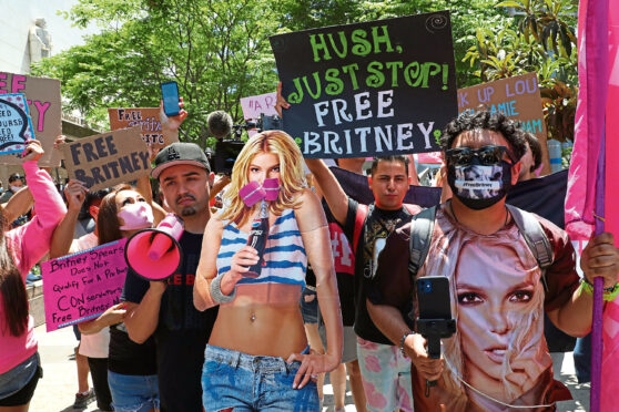Britney Spears fans at a court hearing concerning the pop singer's conservatorship
