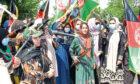 Armed women demonstrate against a resurgent Taliban in Ghor province, central Afghanistan last week