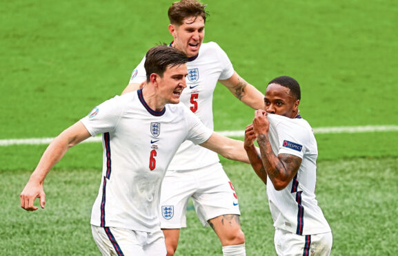 Raheem Sterling, seen celebrating with Harry Maguire and John Stones, will be hoping for a repeat tonight