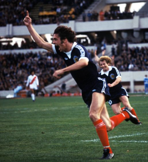 Joe Jordan turns away after scoring against Peru in the 1978 World Cup