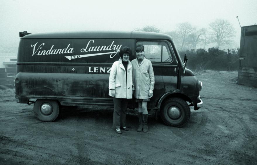 Staff with delivery van, Vindanda Laundry, Kirkintilloch, 1971