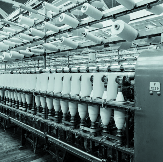 Ring spinning machine, Mill No.1, Ferguslie Mills, Paisley, Renfrewshire, 1984