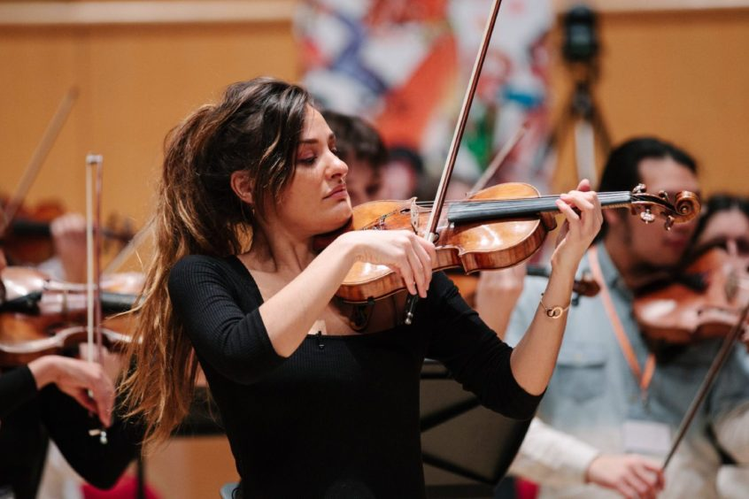 Nicola leading one of her Benedetti Foundation sessions at the Glasgow Royal Concert Hall
