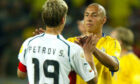 Stiliyan Petrov and Henrik Larsson greet each other after their clash at the 2004 Euros