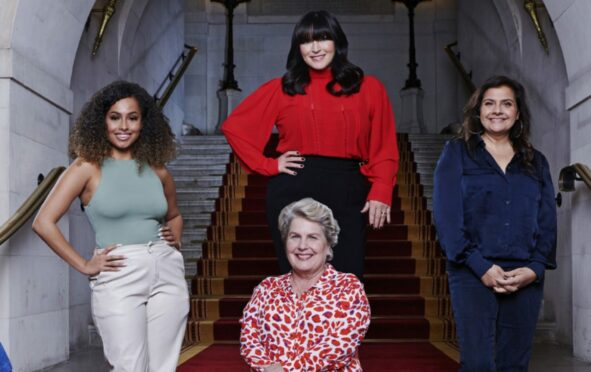 Sandi Toksvig, front, with, from left, Amber Gill, Anna Richardson and Nina Wadia