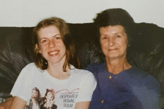 Julie aged 16 and wearing a Madonna t-shirt, with her mum Marion