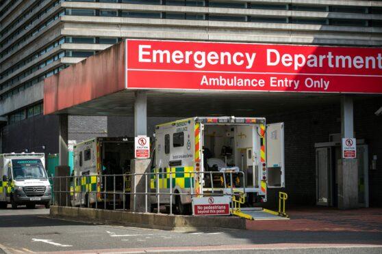 Ambulances outside Glasgow Royal Infirmary A&E yesterday