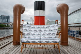 Unique Ercol sofa featuring Waverley pattern to be raffled to raise funds for paddle steamer