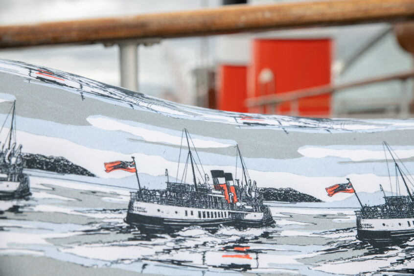 A close-up of the Waverley print