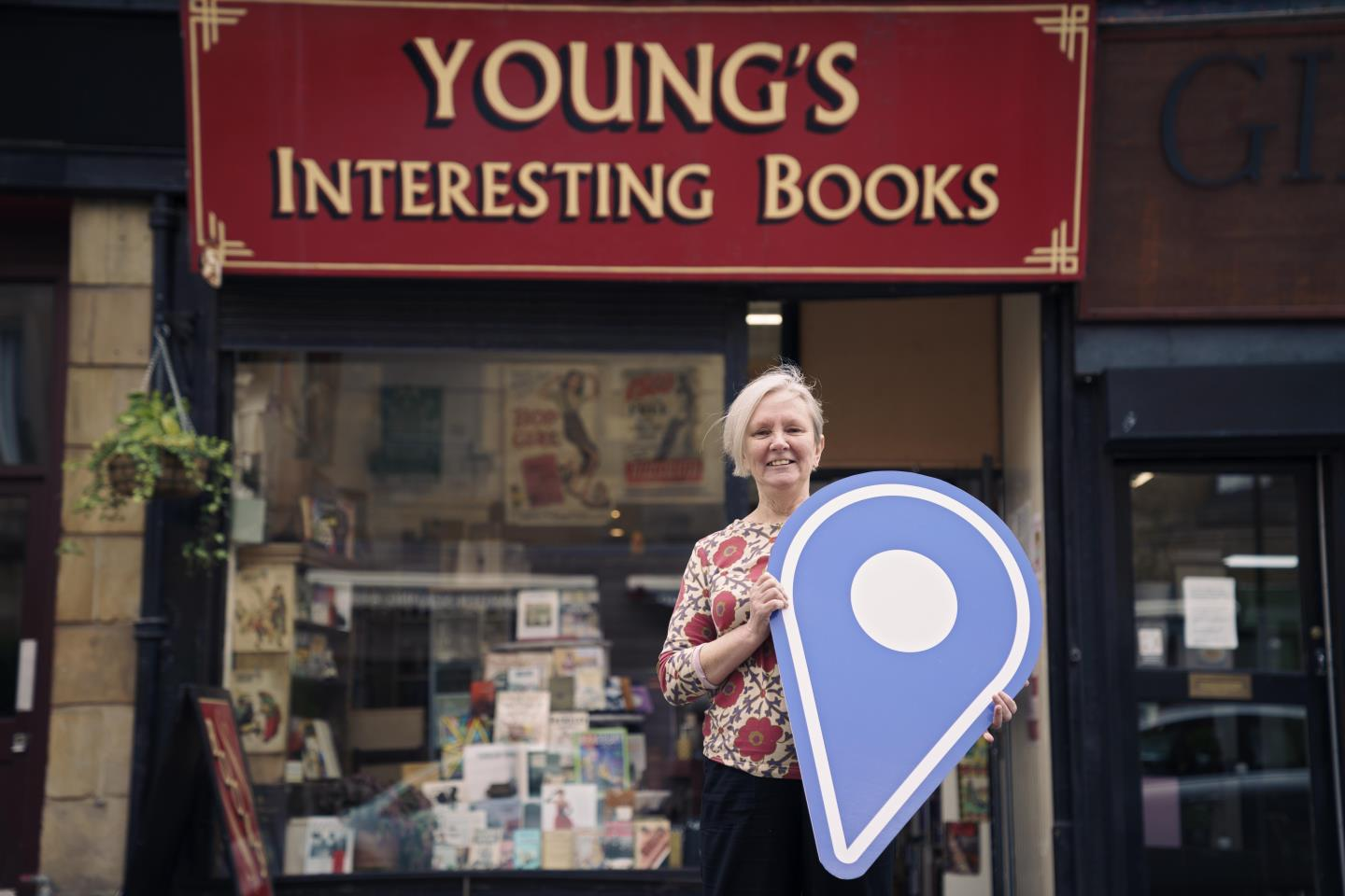 Noelle Carroll of Young's Interesting Books, Shawlands, Glasgow. Part of Scotland Loves Local.