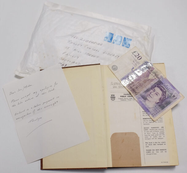 The book, apology letter and £20 note