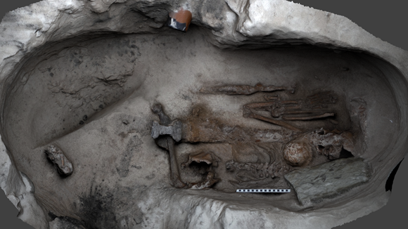 Excavation of the Viking burial site.