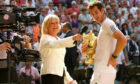 Sue Barker with new Wimbledon champ Andy Murray in 2013