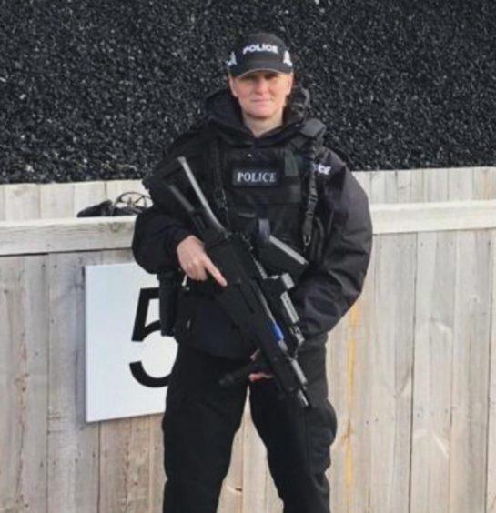 Rhona Malone on duty as a firearms officer