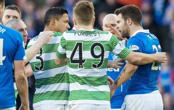 Richard Foster (far right) takes exception to Emilio Izaguirre during the League Cup semi-final at Hampden in 2015