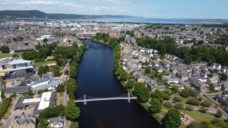 An aerial view of Inverness