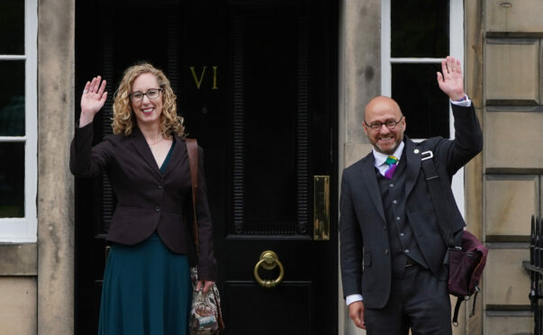 Scottish Green Party co-leaders Patrick Harvie and Lorna Slater arrive at Bute House, Edinburgh