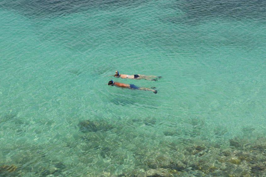 Snorklers at Sheer Rocks