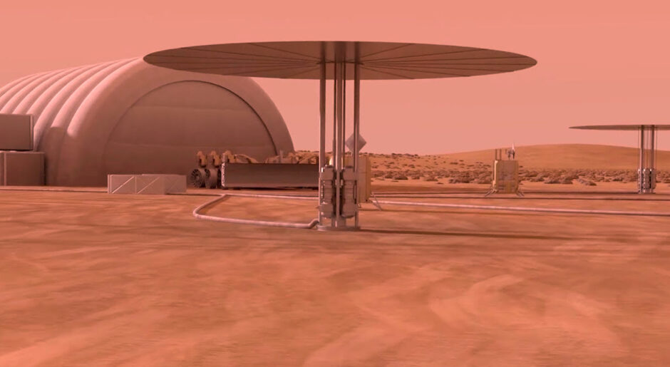 A Nasa artist's impression of how a Kilopower reactor, an energy generator using nuclear fission but founded on Stirling's invention, might look on the Red Planet
