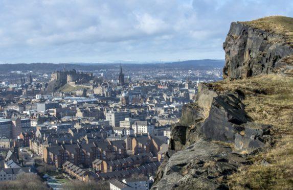 Edinburgh Castle and skyline seen from Salisbury Crags