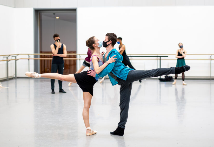 Claire Souet and Barnaby Rook Bishop in rehearsals for Scottish Ballet's Starstruck