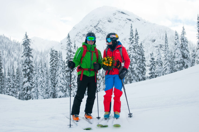Gordon and Fiona on the slopes of the Powder Highway in British Columbia, Canada during their honeymoon in 2018