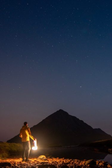 Stargazing at the foot of Buachaille Etive Mor