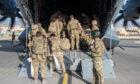 UK military personnel departing Kabul