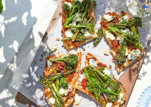 BBQ Tenderstem broccoli, sun dried tomato bruschetta